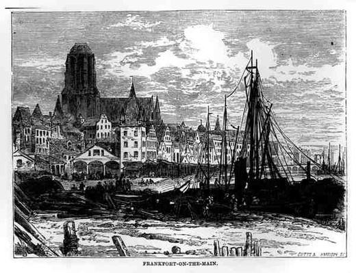 View of Frankfort-on-the-Main with the White Ladies Church in the background, engraved by Cutts and Harrison