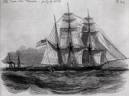 Capture of the 'Anne D. Richardson' Slaver by H. M. Steam Frigate 'Pluto', from 'The Illustrated London News', 6th July 1850
