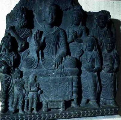 Relief of Buddha preaching