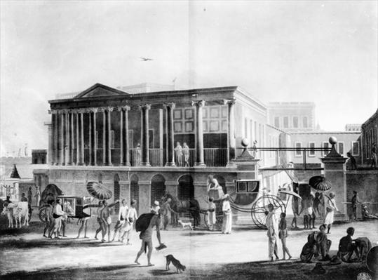View of a House, Manufactory, and Bazaar, in Calcutta, engraved by Francis Jukes, 1795