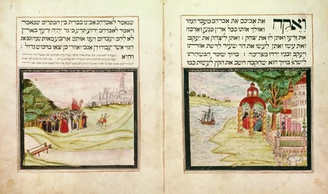 Sloane MS 3173 The Banishment of Hagar and Ishmael and the Appearance of the Three Angels to Abraham, from the Leipnik Haggadah, 1740