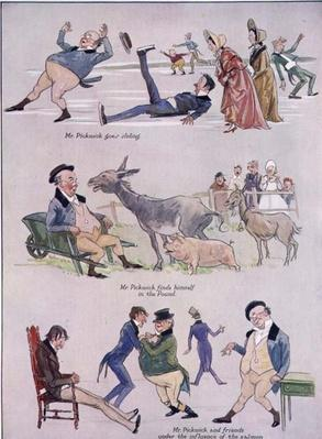 Cartoons of Mr. Pickwick from 'Holly Leaves', Christmas Number of the Illustrated Sporting and Dramatic News, 1934