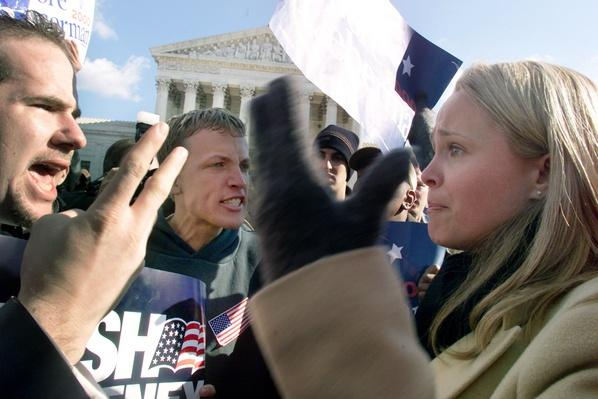 Bush Supporters Yell at Gore Supporters Outside the U.S. Supreme Court | U.S. Presidential Elections: 2000