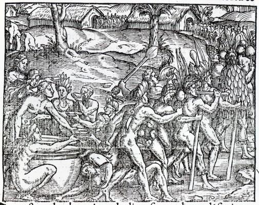 Procession of natives drinking and smoking, engraved by Theodor de Bry