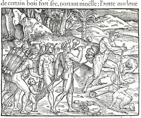 Indian Natives Making Fire After Hunting, engraved by Theodor de Bry