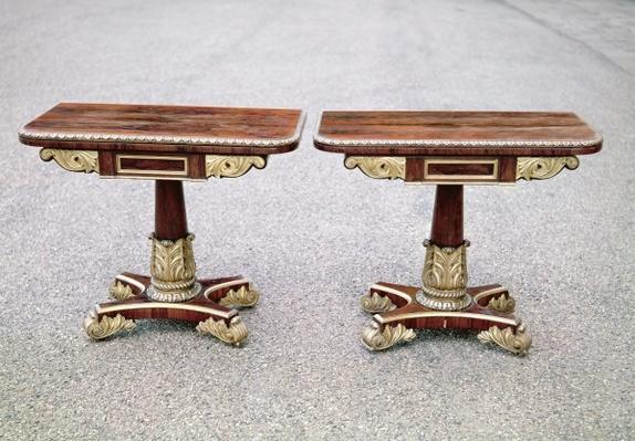Pair of Regency card tables on quadruple bases, c.1810