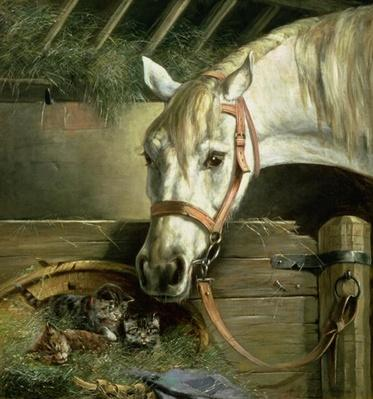 Horse and kittens, 1890