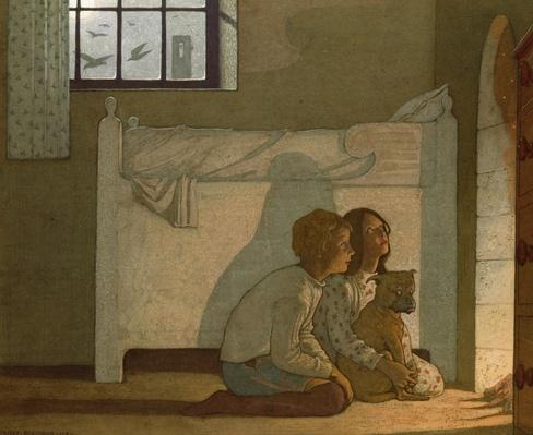 Illustration to Maeterlinck's 'The Bluebird': Children recounting their adventures