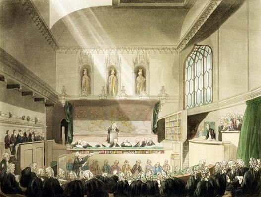 Court of King's Bench, Westminster Hall, from 'The Microcosm of London', engraved by J. Black