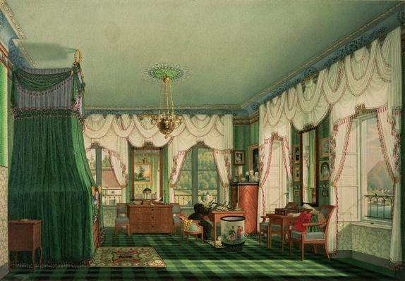 The Bedroom of Elizabeth of Bavaria, Schloss Tegernsee. c.1840