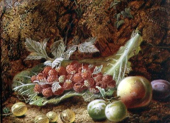 Still life of raspberries, gooseberries, peach and plums on a mossy bank