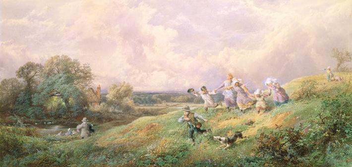 Children Running Down a Hill