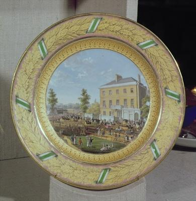 Meissen plate, decorated with a scene of Apsley House, c.1818