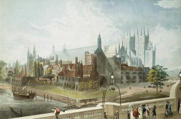 Westminster Hall and Abbey, engraved by Daniel Havell