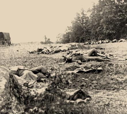 Confederate Dead Gathered for Burial, Gettysburg | Ken Burns: The Civil War
