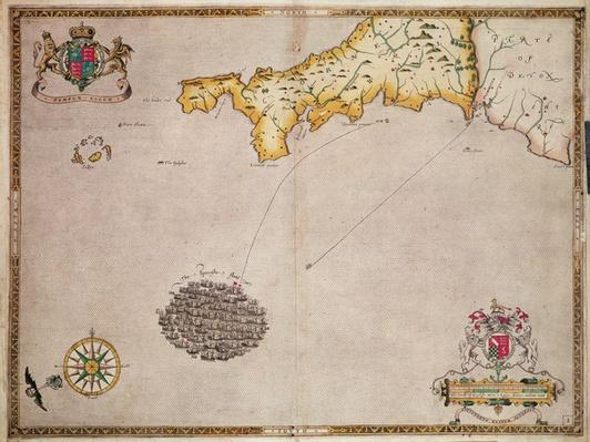 Map No. 1 showing the route of the Armada fleet, engraved by Augustine Ryther, 1588