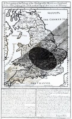 A Map Showing the Passage of the Shadow of the Moon Over England on 22 April 1715, engraved by John Senex, 1715