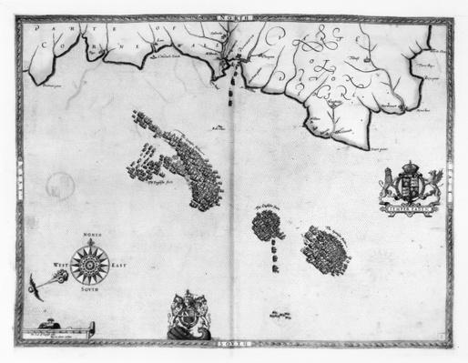Map No.3 Showing the route of the Armada fleet, engraved by Augustine Ryther, 1588