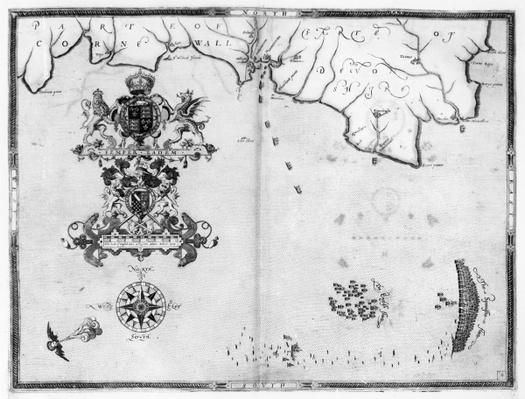 Map No.4 Showing the route of the Armada fleet, engraved by Augustine Ryther; 1588