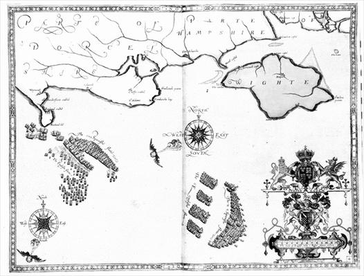 Map No.6 showing the route of the Armada fleet, engraved by Augustine Ryther, 1588