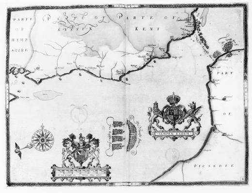 Map No.8 showing the route of the Armada fleet, engraved by Augustine Ryther, 1588
