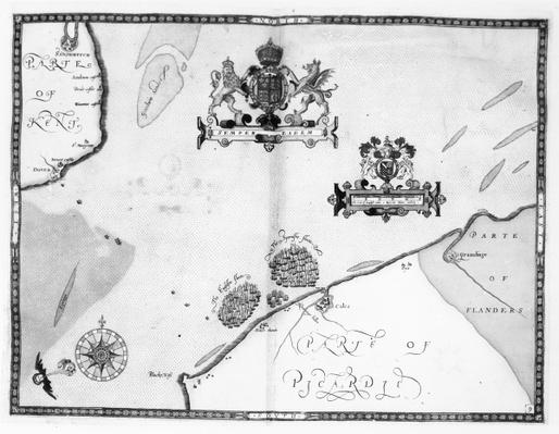 Map No.9 showing the route of the Armada fleet, engraved by Augustine Ryther, 1588