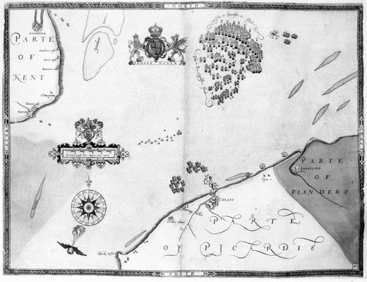 Map No.10 showing the route of the Armada fleet, engraved by Augustine Ryther, 1588