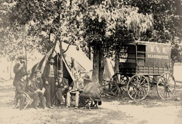 Group At Tent And Wagon At The New York Herald | Ken Burns: The Civil War