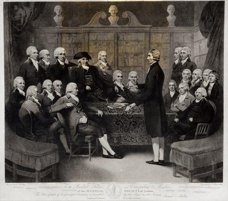 Group Portrait of the President, Fellows, and Corresponding Members of the Medical Society of London, engraved by Nathan Cooper Branwhite