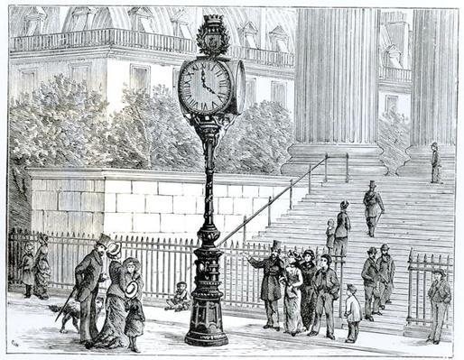 A Crowd Admires a Pneumatic Clock