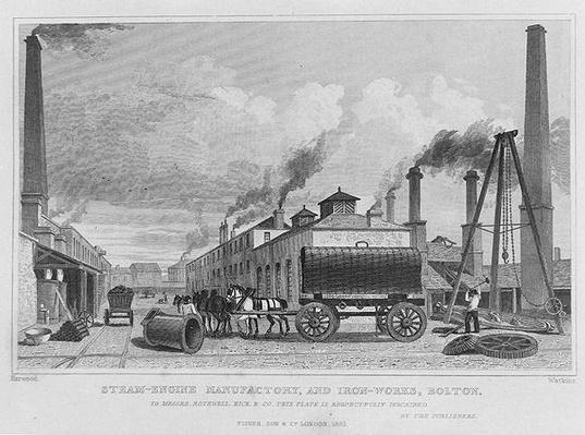 A Steam-Engine Manufactory and Iron Works at Bolton, by Harwood, engraved by Watkins