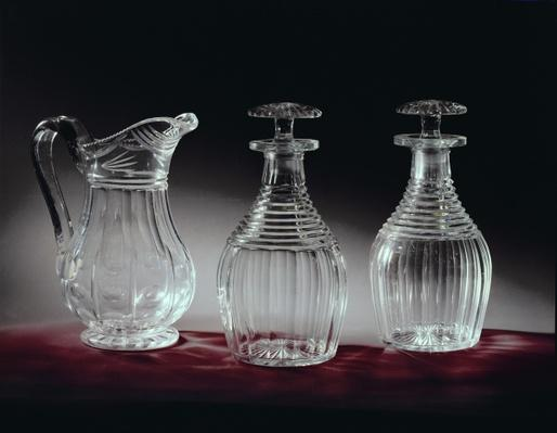 Cut glass decanters and jug, c.1840