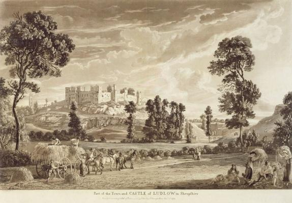 Part of the Town and Castle of Ludlow in Shropshire, engraved by the artist, published by P. Sandby, 1779