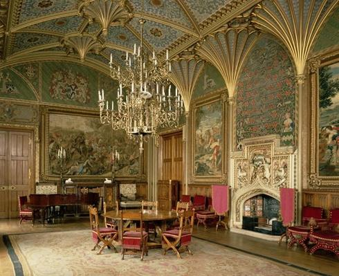 Eastnor Castle, Herefordshire: the drawing room, with furniture designed by Pugin, c.1840