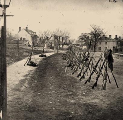 Row of Stacked Federal Rifles | Ken Burns: The Civil War