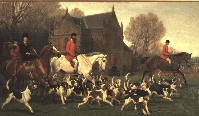 Countess Spencer on the hunter 'Goldfinch' and John Poyntz, 5th Earl Spencer on 'Misrule', with the Pytchley Hunt