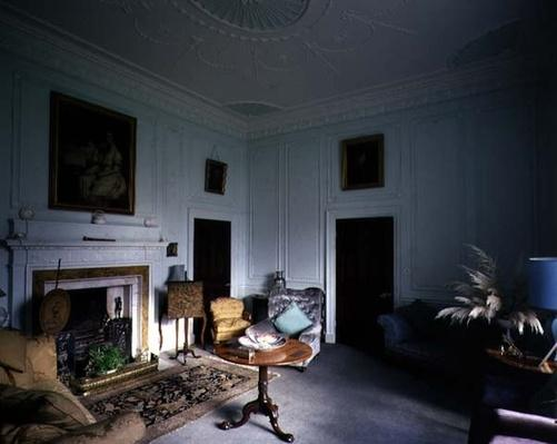 Drawing room with neo-classical frieze of musical instruments, Belle Isle, Windermere, Cumbria