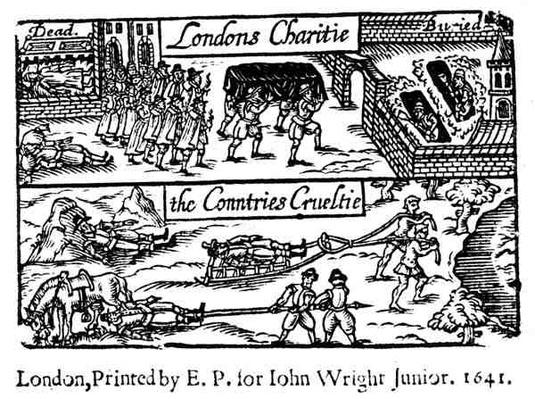 London's Charity, the Country's Cruelty, detail from 'London's Lamentation', 1641