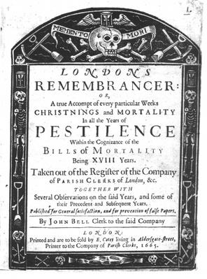 Frontispiece to 'London's Remembrancer' by John Bell, 1665