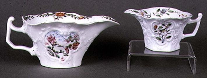 Worcester shaped oval sauce boat and creamer, enamel polychrome decoration, c.1750-55