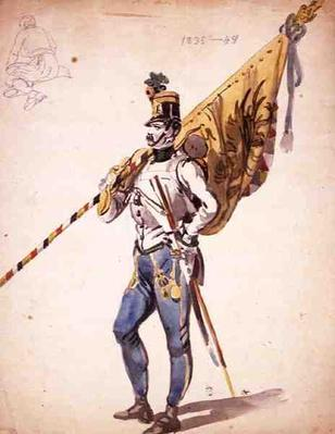 An Officer with a Battalion Colour of a Hungarian Infantry Regiment, 1835-1848, 19th century