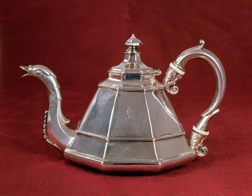 Teapot, probably based on an early 18th century Dutch example, London 1832