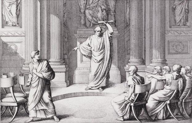 Cicero Denouncing Catiline, engraved by B.Barloccini, 1849