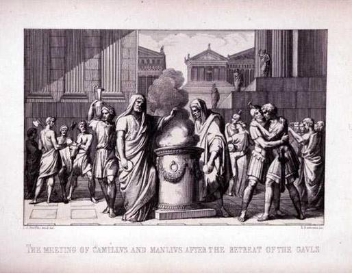 The Meeting of Camillus and Manlius After the Retreat of the Gauls, engraved by B.Barloccini, 1849