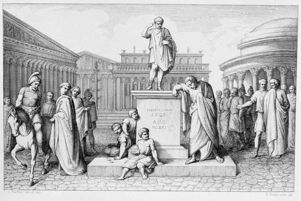 Gaius Gracchus Weeping Before his Father's Statue, engraved by B.Barloccini, 1849