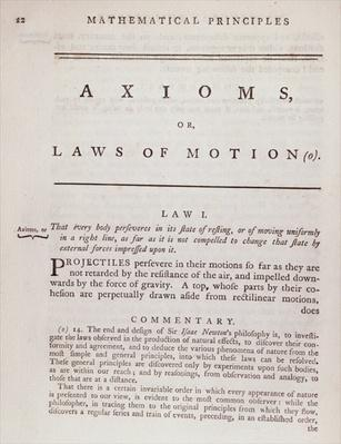 Axioms, or Laws of Motion, from Volume I of 'The Mathematical Principles of Natural Philosophy' by Sir Isaac Newton