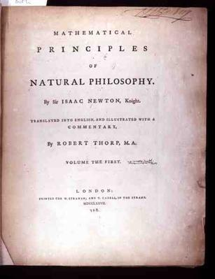 Frontispiece to Volume I of 'The Mathematical Principles of Natural Philosophy' by Sir Isaac Newton