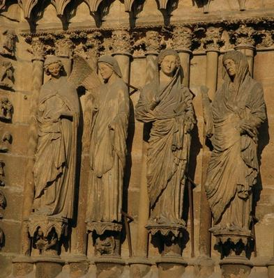 The Visitation, four jamb figures from the West Facade of the Cathedral, c.1230-40