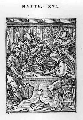 The Gamesters, from the 'Dance of Death' series, engraved by Hans Lutzelburger