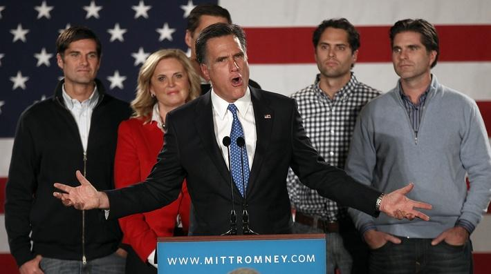 Mitt Romney And Supporters Attend Caucus Night Event | U.S. Presidential Elections 2012